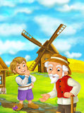 Beautifully colored scene with cartoon character - old man standing and talking or greeting someone or son - windmill Stock Images