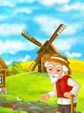 Beautifully colored scene with cartoon character - old man standing and talking or greeting someone - windmill in the background Royalty Free Stock Images