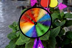 Colorful Rainbow Pinwheel royalty free stock image