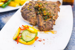 Beautifully cooked cutlet with chimichurri topping Stock Image