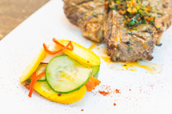 Beautifully cooked cutlet with chimichurri topping Stock Photography