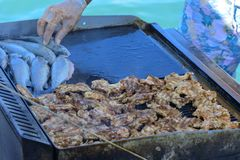 Beautifully cooked fried pieces of quail meat and whole trout fish on an electric grill on a yacht in the open sea. The concept of. Fast cooking delicious and stock images