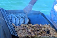 Beautifully cooked fried pieces of quail meat and whole trout fish on an electric grill on a yacht in the open sea. The concept of. Fast cooking delicious and royalty free stock photo