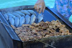 Beautifully cooked fried pieces of quail meat and whole trout fish on an electric grill on a yacht in the open sea. The concept of. Fast cooking delicious and stock photo