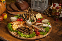 Beautifully cooked in the restaurant baked fish. Royalty Free Stock Image