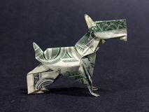 Money Origami Scottish Terrier - Dollar Bill Art. This is a beautifully crafted Money Origami Scottish Terrier made with real dollar bill Royalty Free Stock Photos