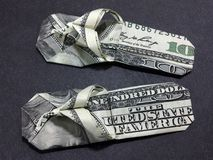 Money Origami Slippers - Dollar Bill Art. This is a beautifully crafted Money Origami Slipper made with real $100 bills Stock Images