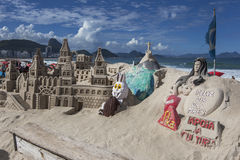 Beautifully crafted sand castles on Copacabana Beach in Rio de Janeiro in Brazil. Royalty Free Stock Photography