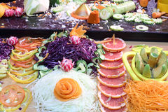 Beautifully cut colorful fresh vegetables and fruits Stock Photo