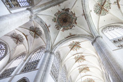 Beautifully decorated arched ceiling of breda cathedral Royalty Free Stock Photo