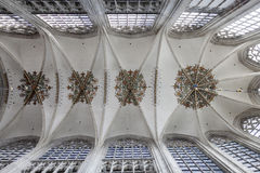 Beautifully decorated arched ceiling of breda cathedral Royalty Free Stock Image