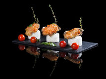 Beautifully decorated  baked oyster with cheese on plate Royalty Free Stock Photography