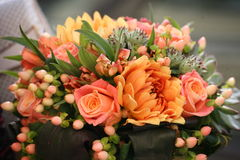 Beautifully decorated bouquet of pink roses. Stock Photography