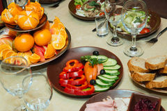 Beautifully decorated catering banquet table. With different food Stock Image
