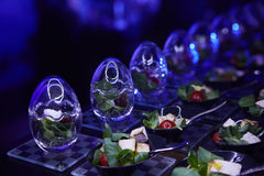 Beautifully decorated catering banquet table with different food snacks. Stock Images