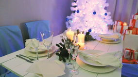Beautifully decorated Christmas table stock video footage