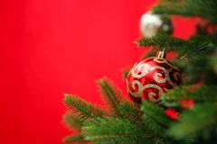 Beautifully decorated Christmas tree color background, closeup. Beautifully decorated Christmas tree against color background, closeup Royalty Free Stock Image