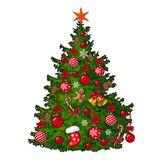 Beautifully decorated Christmas tree isolated on white background Royalty Free Stock Photo