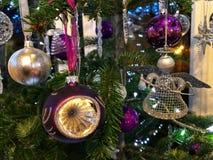 Beautifully decorated Christmas tree at night royalty free stock photo