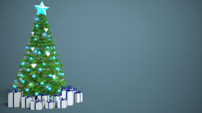 Beautifully decorated Christmas tree with presents. 3D Illustrat Stock Photo