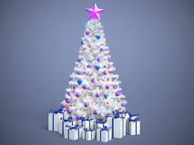 Beautifully decorated Christmas tree with presents. 3D Illustrat Royalty Free Stock Images