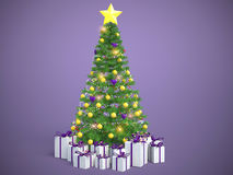Beautifully decorated Christmas tree with presents. 3D Illustrat Stock Photos