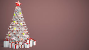 Beautifully decorated Christmas tree with presents. 3D Illustrat Royalty Free Stock Photos