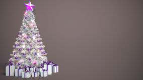 Beautifully decorated Christmas tree with presents. 3D Illustrat Stock Images