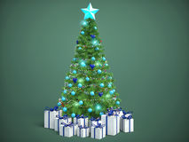 Beautifully decorated Christmas tree with presents. 3D Illustrat Stock Image