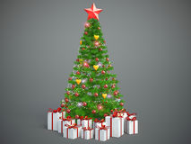 Beautifully decorated Christmas tree with presents. 3D Illustrat Stock Photography