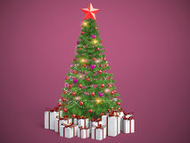 Beautifully decorated Christmas tree with presents. 3D Illustration stock illustration