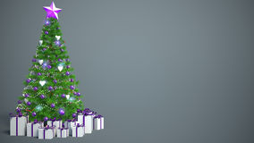 Beautifully decorated Christmas tree with presents. 3D Illustrat Royalty Free Stock Photo