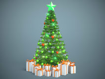 Beautifully decorated Christmas tree with presents. 3D Illustrat Royalty Free Stock Photography
