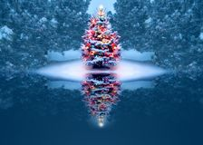 Beautifully Decorated Christmas Tree Reflects Magically In Frozen Lake royalty free illustration