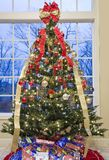 Beautifully decorated Christmas Tree by a Window Stock Images