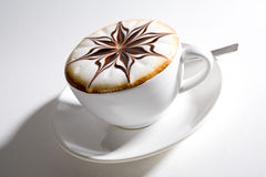 Beautifully decorated cup of hot coffee Royalty Free Stock Photos