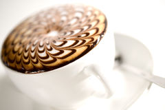 Beautifully decorated cup of hot coffee Stock Image