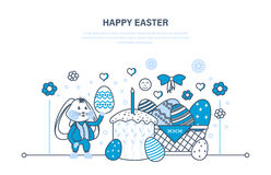 Beautifully decorated eggs lie in basket, cake with candle, rabbit. Stock Image