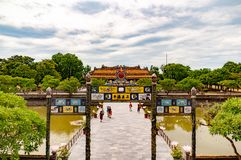 Ornate Gate to the Forbidden City Pagodas in Hue, Vietnam stock photography