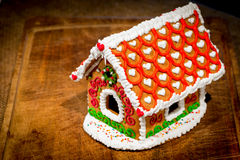 Beautifully decorated gingerbread house Stock Photos