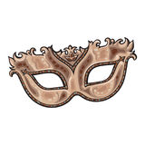 Beautifully decorated golden Venetian carnival mask with glitter and ornaments Stock Photography