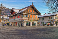 Beautifully decorated houses of Garmisch-Partenkirchen Stock Photos