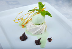 Beautifully decorated ice cream on a plate Stock Photography