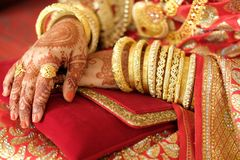 Beautifully decorated Indian bride hands, Soft Focus. Stock Photos