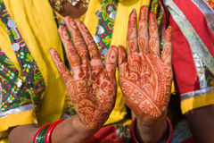 Beautifully decorated indian hands Stock Images