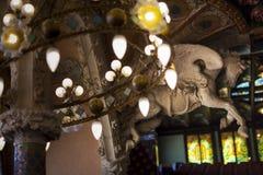 Beautifully decorated Lamp in Palau de la Musica, Barcelona, Spain, 2014 stock photo