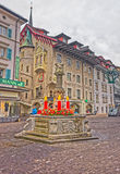 Beautifully decorated medieval fountain in Lucerne Royalty Free Stock Photos