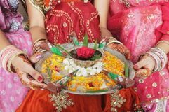 Beautifully decorated mehendi /henna plate. Royalty Free Stock Image