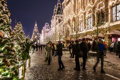 beautifully decorated Moscow and red square for New year and Ch stock photo