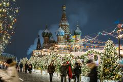 beautifully decorated Moscow and red square for New year and Chr royalty free stock photography